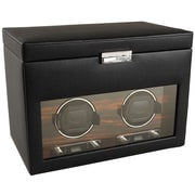 WOLF Module 2.7 Roadster Double Watch Winder With Cover and Storage, Black