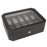 WOLF 10 Piece Watch Box With Cover, Black