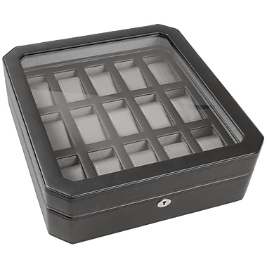WOLF 15 Piece Watch Box With Cover, Black