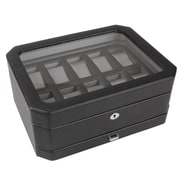 WOLF 10 Piece Watch Box With Drawer, Black