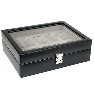 WOLF Heritage 10 Piece Watch Box With Cover, Black
