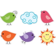 "Barker Creek LL-2205 5.5"" x 5.5"" DieCut Happy Birds Decorative Accents, Multicolor"