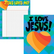 "Barker Creek LL-516 17"" x 22"" Straight Jesus Loves Me Chart Set, Multicolor"