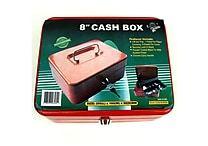 Trademark Global® Stalwart™ 8' Key Lock Cash Box With Coin Tray, Red