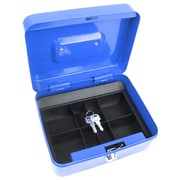 "Trademark Global® Stalwart™ 8"" Key Lock Cash Box With Coin Tray, Blue"