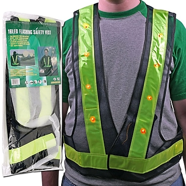 Trademark Global® Stalwart™ Hawk Super Bright 16 LED Flashing Safety Vest