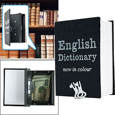 Trademark Global® Mini Dictionary Diversion Book Safe With Key Lock, Black