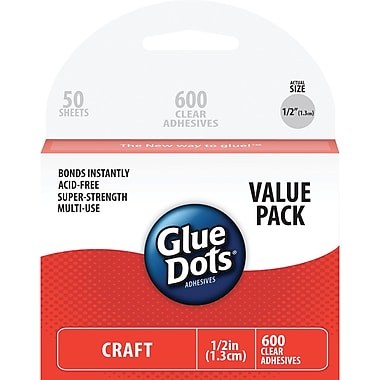 Glue Dots® 1/2in. Craft Dot Sheets School Value Pack, 600/Pack