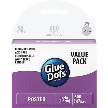Glue Dots® 1/2in. Poster Dot Sheets School Value Pack, 600/Pack