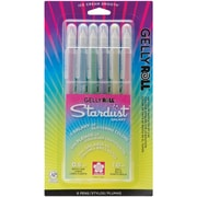 Sakura Gelly Roll Stardust Bold Point Pen, 6/Pack, Rose/Sky/Lime/Purple/Golden/Red