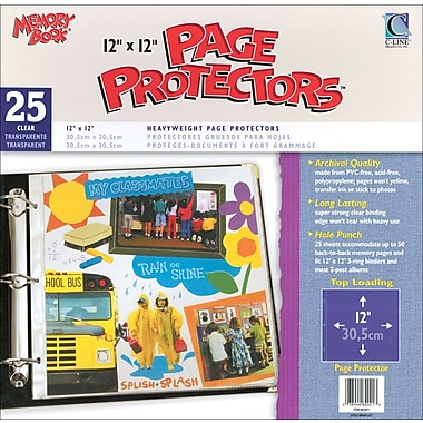 C-Line Memory Book Top - Load Page Protectors, 12in. x 12in., Clear