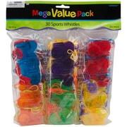 Amscan 392657 Assorted Mega Value Pack Party Favors Sports Whistle, 30/Pack