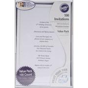 "Wilton® 8 1/2"" x 5 1/2"" Single Border Invitation Kit, White, 100/Pack"