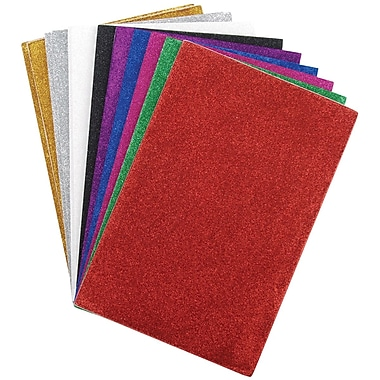 Darice® 6in. x 9in. Glitter Sticky Back Foam Sheets, 12 Pieces