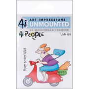 Art Impressions 6 x 4 People Cling Stamp, Mad Rider Set