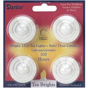 Darice 6201-90 White LED Tea Lights, 4/Pack