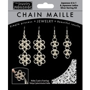 Midwest Products Chain Maille Japanese 6-in-1 Lattice Earrings Jewelry Kit, Silver