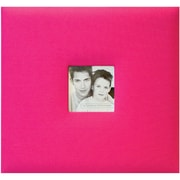 MBI Fashion Fabric Cover Postbound Album With Window, 8 x 8, Hot Pink