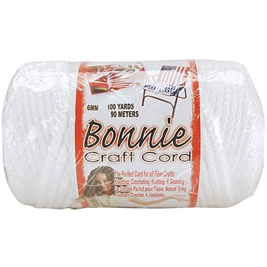 Pepperell BB6-100-001 White Bonnie Macrame Craft Cord, 100 yd.
