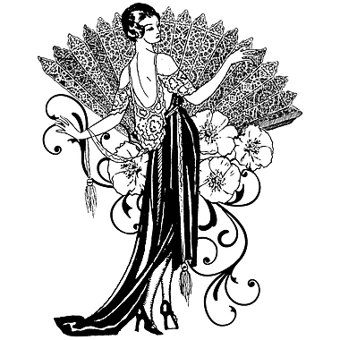 Magenta 3 1/4in. x 4 1/4in. Cling Stamp, Lady With Fan