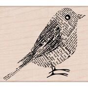 "Hero Arts® 3 3/4"" x 3 1/4"" Mounted Rubber Stamp, Newsprint Bird"