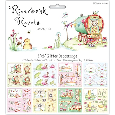 Trimcraft 8in. x 8in. Die-Cut Decoupage Pack, Riverbank Revels, 24/Pack