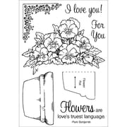 """Stampers Anonymous 0.15"""" x 4 1/2"""" x 8"""" Honeypop Clear Stamp Set, Potted Violets"""