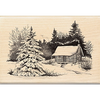 Inkadinkado® 2 3/4in. x 4in. Mounted Rubber Stamp, Snowy Cabin