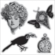 "Hampton Art® 4 1/2"" x 4 1/2"" Graphic 45 Cling Stamp, Time Flies"