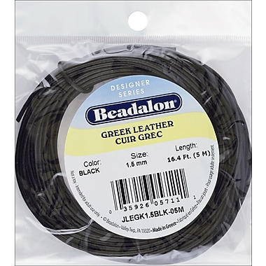 Beadalon® 1.5 mm Greek Leather Round Lace, Black