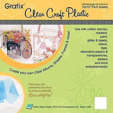 Grafix K20CP124 Clear Craft Plastic Sheets, 12