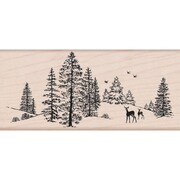 "Hero Arts® 5"" x 2 1/4"" Mounted Rubber Stamp, Winter Scene"
