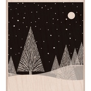 "Hero Arts® 3 3/4"" x 3 1/4"" Mounted Rubber Stamp, Winter Moon"