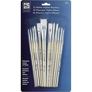 Loew-Cornell® Nylon Brush Set, White, 12/Pack