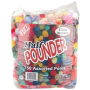Pepperell PMPZ1 Assorted Standard Pom-Poms, 750/Pack