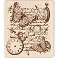 Inkadinkado® 3 1/2in. x 4in. Mounted Rubber Stamp, Time Flies Collage