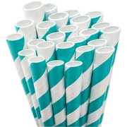 "Aardvark STRAW-AQUA Jumbo Unwrapped Striped Aqua Blue Straws, 7.75"", 50/Pack"