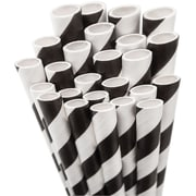 "Aardvark STRAW-BLACK Jumbo Unwrapped Striped Black Straws, 7.75"", 50/Pack"