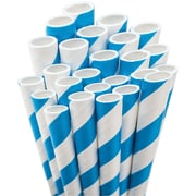 "Aardvark STRAW-BLUE Jumbo Unwrapped Striped Blue Straws, 7.75"", 50/Pack"