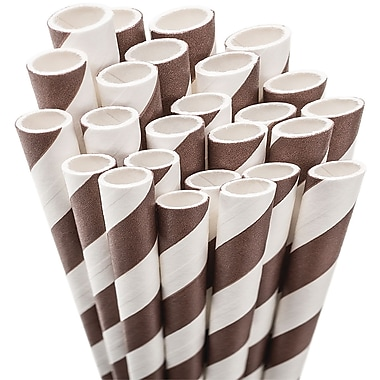Aardvark STRAW-BROWN Jumbo Unwrapped Striped Brown Straws, 7.75