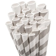 "Aardvark STRAW-GREY Jumbo Unwrapped Striped Gray Straws, 7.75"", 50/Pack"