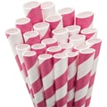 Aardvark® 7 3/4in. Jumbo Unwrapped Striped Straws, Hot Pink/White, 50/Pack