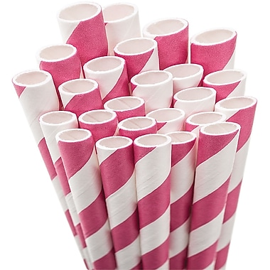 Aardvark STRAW-PINKR Jumbo Unwrapped Striped Hot Pink Straws, 7.75