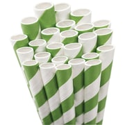 "Aardvark STRAW-KGRN Jumbo Unwrapped Striped Kelly Green Straws, 7.75"", 50/Pack"