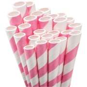 "Aardvark STRAW-LPINK Jumbo Unwrapped Striped Light Pink Straws, 7.75"", 50/Pack"