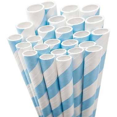 Aardvark STRAW-LTBLU Jumbo Unwrapped Striped Light Blue Straws, 7.75