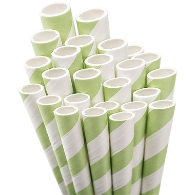 Aardvark® 7 3/4in. Jumbo Unwrapped Striped Straws, Light Green/White, 50/Pack