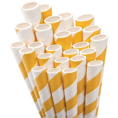 Aardvark® 7 3/4in. Jumbo Unwrapped Striped Straws, Bright Yellow/White, 50/Pack