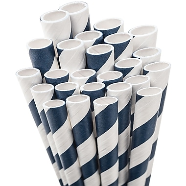 Aardvark STRAW-NBLUE Jumbo Unwrapped Striped Navy Blue Straws, 7.75in., 50/Pack