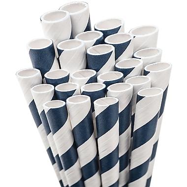 Aardvark STRAW-NBLUE Jumbo Unwrapped Striped Navy Blue Straws, 7.75